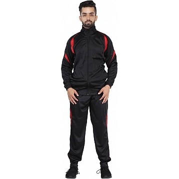 HPS Sports Red Black Polyester Tracksuits