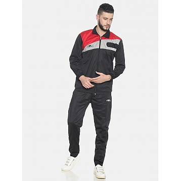 HPS Sports Black / Red & Grey Polyester Tracksuit