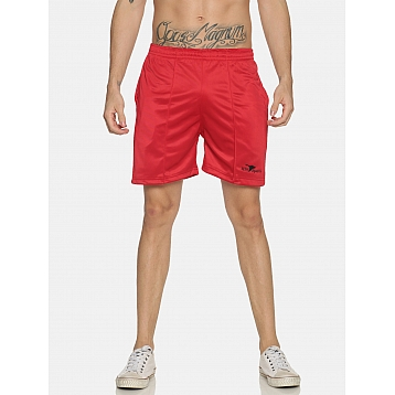 HPS Sports Red Plain Polyester Shorts