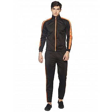 HPS Sports Orange Black Polyester Tracksuits
