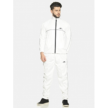 HPS Sports White/Black Pipping Polyester Tracksuit