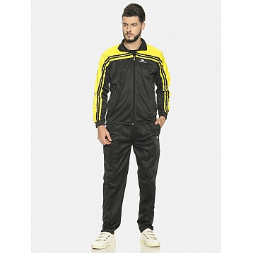 HPS Sports Black Yellow Polyester Tracksuit