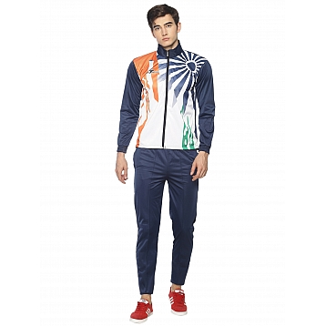 HPS Sports White Blue Polyester Tracksuits
